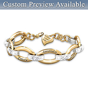 """Joined By Love"" Diamond Bracelet With Up To 6 Names"