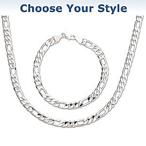 Choose Your Finish: Men's Chain Necklace And Bracelet Set