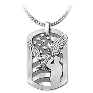 """Service Before Self"" Dog Tag Pendant Necklace"