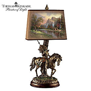"Thomas Kinkade ""Native Journeys"" Sculptural Bronzed Art Lamp"