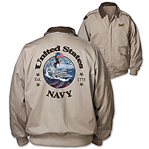 """Navy Forever"" Men's Twill Jacket With Navy-Inspired Artwork"