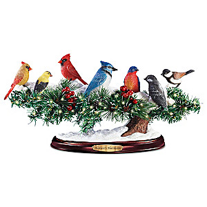 """""""Nature's Harmony"""" Lighted Singing Songbirds Sculpture"""
