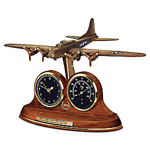 Commemorative B 17 Flying Fortress Bronze Thermometer Clock