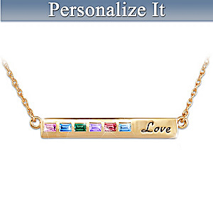 """A Mother's Love"" Personalized Family Birthstone Necklace"