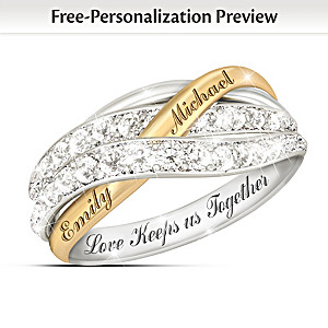 """Together In Love"" Diamond Ring With Your Names Engraved"