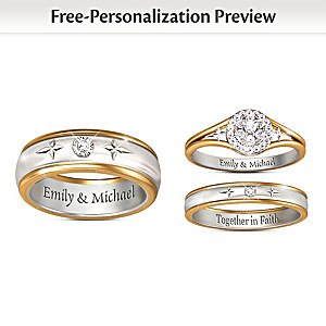 Forever In Faith Customized His & Hers Diamond Wedding Rings