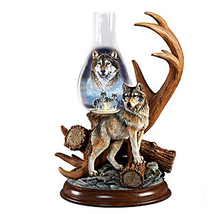 "Al Agnew ""Guardians Of The Night"" Illuminated Wolf Sculpture"