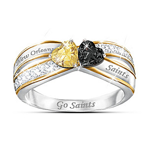 """Heart Of New Orleans"" Ring With Saints Colored Crystals"