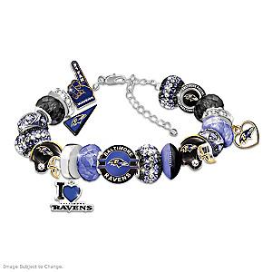 """Fashionable Fan"" Ravens Beaded Charm Bracelet"