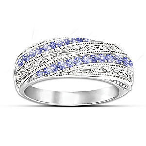 """Tanzanite Elegance"" Ring With 20 Tanzanite Gemstones"