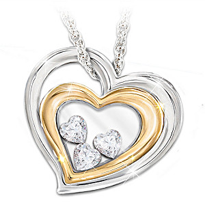 """""""Window To My Heart"""" Daughter Pendant With Floating Hearts"""