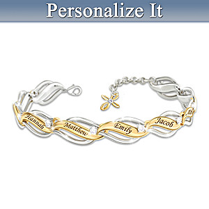 """Our Family Of Faith And Love"" Name-Engraved Bracelet"