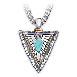 """""""Power Of The West"""" Turquoise Thunderbird Pendant Necklace"""