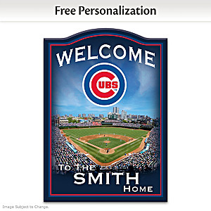 Chicago Cubs Wooden Welcome Sign Personalized With Name