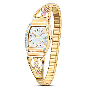 """""""Ribbons Of Hope"""" Breast Cancer Support Ladies Stretch Watch"""