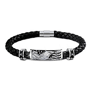 Star-Spangled Banner Men's Leather Bracelet With Engraving