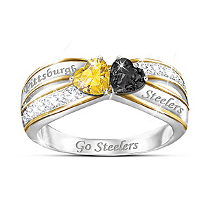 """Heart Of Pittsburgh"" Ring With Steelers Colored Crystals"