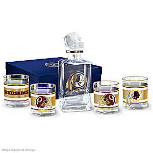 Washington Redskins Five-Piece Decanter And Glasses Set