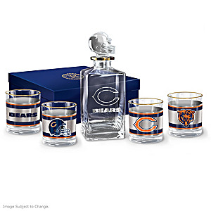 Chicago Bears Five-Piece Decanter And Glasses Set