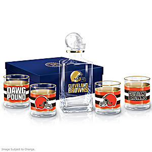 Cleveland Browns Five-Piece Decanter And Glasses Set