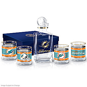 Miami Dolphins Five-Piece Decanter And Glasses Set