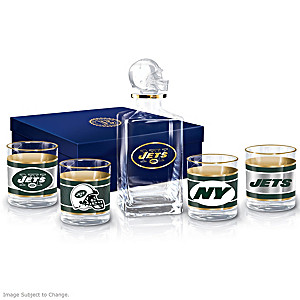 New York Jets Five-Piece Decanter And Glasses Set