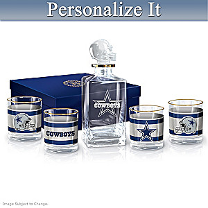 Cowboys Personalized Five-Piece Decanter And Glasses Set