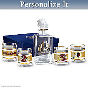 Redskins Personalized Five-Piece Decanter And Glasses Set