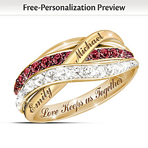 """Together In Love"" Red And White Diamond Ring With 2 Names"