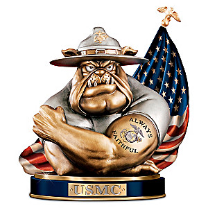 """To Save And Protect"" USMC Devil Dog Cold-Cast Bronze Bank"
