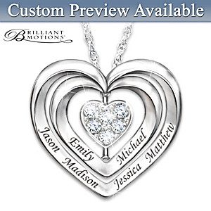Brilliant Motions Personalized Diamond Family Pendant