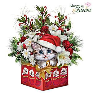 Kayomi Harai Kitten Art Christmas Floral Centerpiece