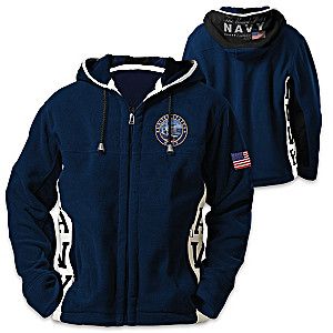 """Navy Pride"" Men's Patriotic Hooded Fleece Jacket"