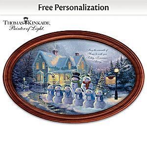 Thomas Kinkade Winter Wonderland Personalized Holiday Plate