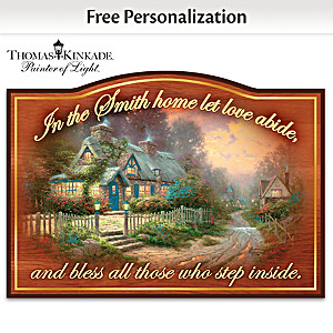 "Thomas Kinkade ""Let Love Abide"" Sign With Your Family Name"