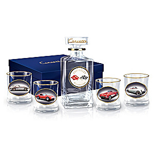 Corvette Multi-Generations 5-Piece Decanter Set With Glasses