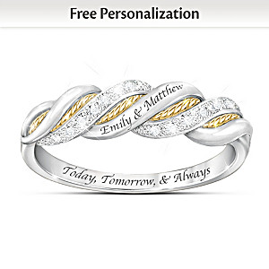 """United In Love"" Name-Engraved Infinity Diamond Ring"