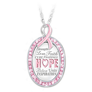 """Strength In Hope"" Breast Cancer Awareness Pendant Necklace"