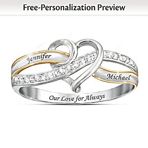 """Our Love For Always"" Heart Diamond Ring With Engraved Names"