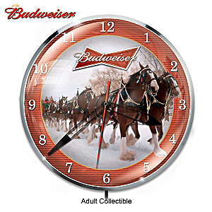 Retro-Style Budweiser Clydesdale Illuminated Wall Clock
