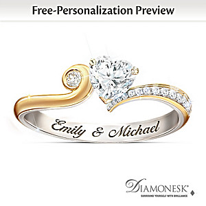 """You Make My Heart Smile"" Diamonesk Ring With Your Names"