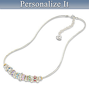 """Family Celebration"" Necklace With Birthstone And Name Beads"