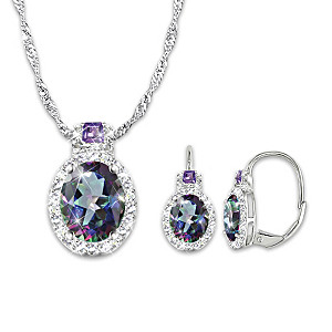 """""""Alluring Beauty"""" Mystic Topaz Necklace And Earrings Set"""