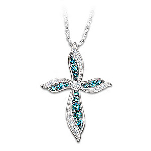 """Heavenly Grace"" Blue And White Diamond Pendant Necklace"