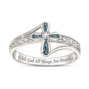 "Engraved ""Heavenly Grace"" Genuine Blue Diamond Cross Ring"