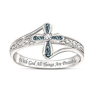 "Engraved ""Heavenly Grace"" Genuine Blue Diamond Cross Ring"