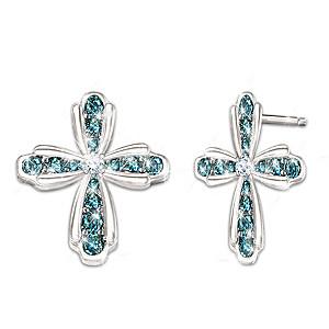 Heavenly Grace Cross-Shaped Blue And White Diamond Earrings