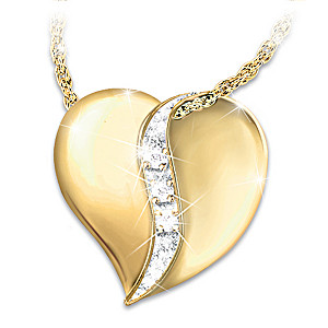 """""""My Precious Daughter"""" Engraved Heart And Diamond Necklace"""
