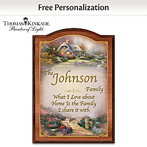 "Thomas Kinkade ""Forever Family"" Welcome Sign With Your Name"