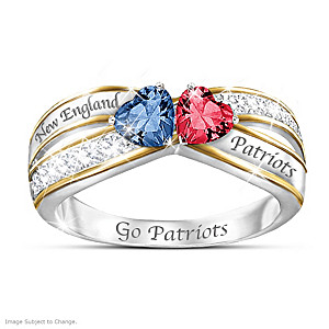 """Heart Of New England"" Ring With Patriots Colored Crystals"